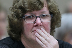 Helen Milner listens to evidence in her trial for murder. Photo / Fairfax Media