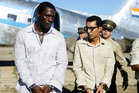 Idris Elba as Nelson Mandela, with Riaad Moosa as fellow detainee Ahmed Kathrada in Long Walk to Freedom. Photo / AP