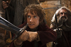 Martin Freeman, left, and John Callen in a scene from The Hobbit: The Desolation of Smaug (AP Photo/Warner Bros. Pictures, Mark Pokorny)