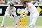 England's Joe Root drives during the fourth day of the second Ashes cricket test match between England and Australia. Photo / AP