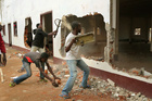 A Christian mob attacks a mosque in Bangui, Central African Republic. Photo / AP