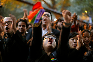 Indian gay rights activists during a protest after the country's top court ruled that a colonial-era law criminalising homosexuality will remain in effect in India. Photo / AP
