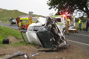 A crash in Hawkes Bay, December last year. Photo / APN