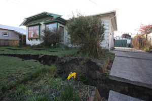An earthquake-damaged house in Avonside Drive, Christchurch.