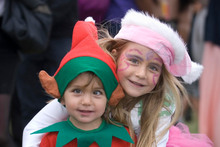 Isabella and Christian Newman dress up for Christmas in the Park. Photo / Michael Craig