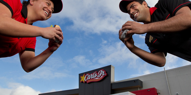Carl's Jr Rotorua staff members Puti Hakeke (left) and Narinderpal Singh. Photo / Stephen Parker