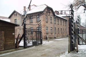 The gate to the Auschwitz Concentration Camp. Photo / AP