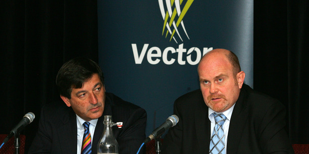 At the announcement of energy network company Vector's 2008 annual result, from left, chairman Michael Stiassny and chief executive Simon Mackenzie. Photo / Brett Phibbs