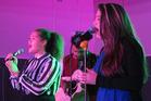 Zoe King-Samuels (14, Moerewa) and Te Rina Kahle (13, Waitaruke). Be Free and Play Music concert and competition, Turner Centre, Kerikeri.