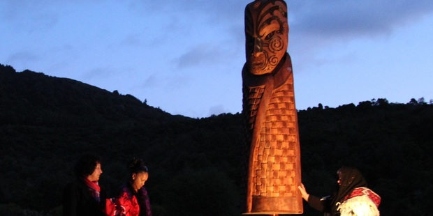 The pou that was gifted to Tuhourangi at a dawn ceremony on 22 October, marking the start of the Tarawera Trail. Photo: supplied