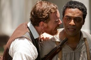 Chiwetel Ejiofor (right, with Michael Fassbender) is a best-actor frontrunner for his role in  12 Years a Slave. Photo / AP