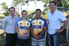 BOP Rugby CEO Mike Rogers, left, Calli Turner, Te Aihe Toma and Councillor Clayton Mitchell at the sevens launch.