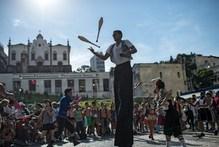 A man juggles in Rio de Janeiro, Brazil.