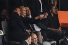 British Prime Minister David Cameron (left), Danish PM Helle Thorning-Schmidt and US President Barack Obama pose for their selfie at Nelson Mandela's funeral. Picture / AP