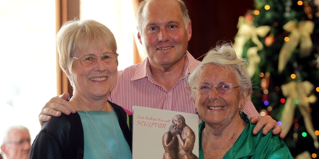 Author Valerie Cowan (left) with Joan Bullock Morrell and Leigh Mitchell-Anyon who photographed Mrs Morrell's extensive works for the book Joan Bullock Morrell, Sculptor which was launched in the city on Wednesday evening.  Photo/Stuart Munro 111213WCSMSCULPTOR1