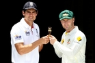 Alastair Cook and Michael Clarke. Photo / AP