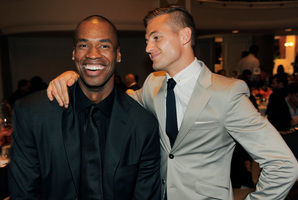 Ex-NBA basketball player Jason Collins, left, and Los Angeles Galaxy soccer player Robbie Rogers at the 9th Annual Gay, Lesbian and Straight Education Network Respect Awards. Photo / File / AP