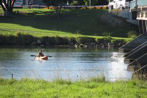 A LandSAR kayaker searches for the missing boy this morning. Photo / Katee Shanks
