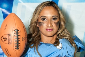 Lisa Tauariki is playing for the New South Wales Surge in the LFL.