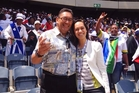 Hone Harawira, pictured with Maori Television reporter Raiha Johns, at a memorial service for Nelson Mandela in Soweto.