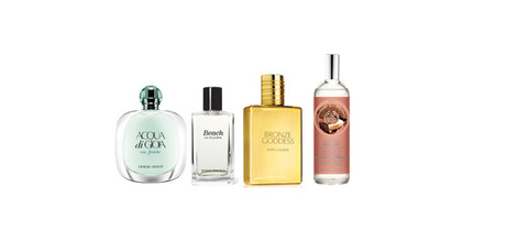 Armani Acqua di Gioia Eau Fraiche; Bobbi Brown Beach; Estee Lauder Bronze Goddess Eau Fraiche Skinscent; The Body Shop Brazil Nut Body Mist. Photo / Supplied.