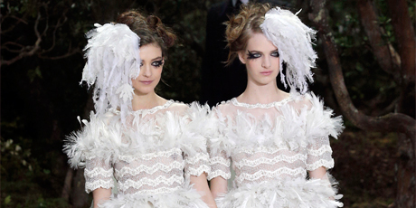 Karl Lagerfeld's haute couture brides. Photo / AP