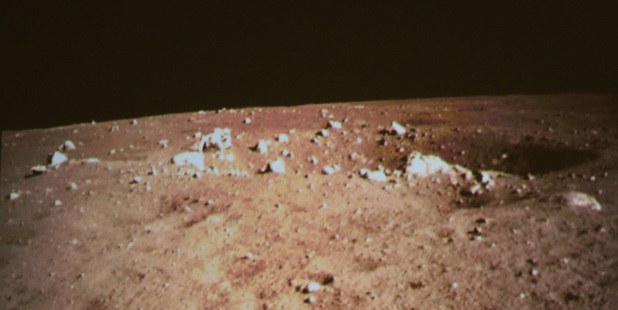 A picture of the moon surface taken by the on-board camera of the lunar probe Chang'e-3. Photo / AP