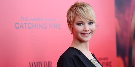Jennifer Lawrence's pixie cut hair. Photo / AP