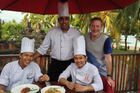 Grant Allen and the hotel chefs in Bali. Photo / Grant Allen