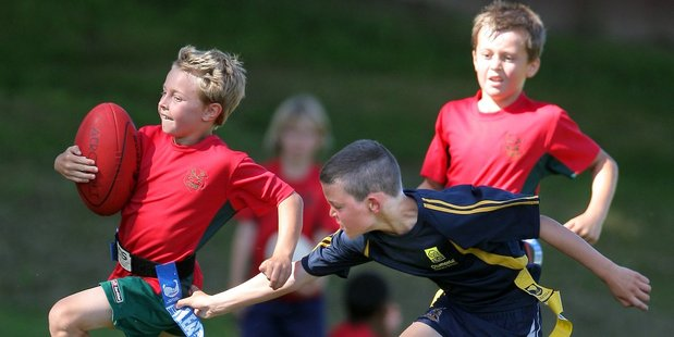 Sean McDonagh of Bethlehem School was in fine form in the Year  3 and  4 Kiwi Tag final at Mitchell Pary yesterday afternoon. Photo/George Novak