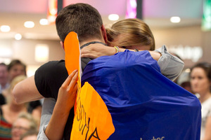 Eva Lenz and boyfriend Aljoscha Zeisler, both from Germany, reunite after 5 months apart. Photo / Natalie Slade
