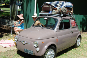 The Fiat 500 Nuova Bambina at the Ellerslie Concours last February, its roof rack laden.