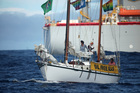 The Greenpeace sponsored yacht SV Vega prepares to leave the Anadarko drill site.