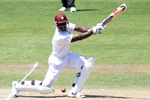 Darren Sammy in action for the West Indies bats during day three of the first test match against New Zealand. Photo / AP