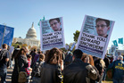 Demonstrators rally at the U.S. Capitol to protest spying on Americans by the National Security Agency. Photo / AP