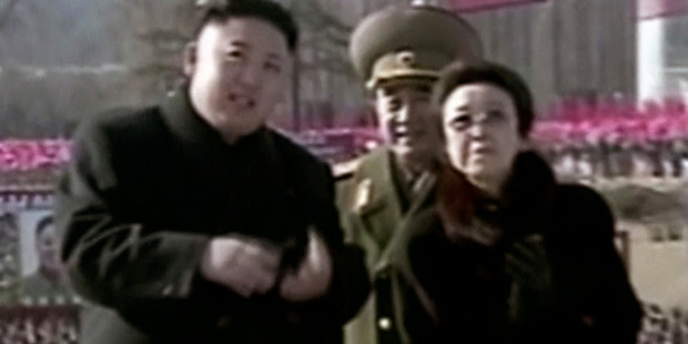 Feb 2013 image made from video, North Korean leader Kim Jong Un, left, with his aunt Kim Kyong Hui, right. Photo / AP