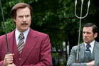 Will Ferrell as Ron Burgundy, left, and Steve Carell as Brick Tamland in a scene from Anchorman 2: The Legend Continues.