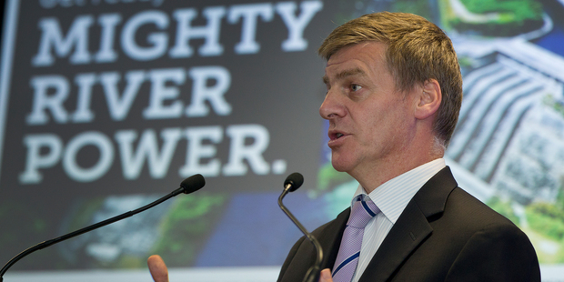 Deputy Prime Minister Bill English talks with media about the Might River Power. Photograph by Greg Bowker