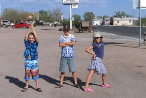 The tweens posing along Route 66. Photo / Danielle Murray