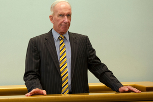 National Finance former director Anthony Banbrook in the dock, during his sentencing at the Auckland High Court, in March 2013. Photo/ Brett Phibbs