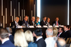 Kiwi Income Property Trust board members at last week's shareholders meeting before a vote to buy the management contract from CBA. Photo / Chris Gorman