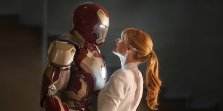 Robert Downey Jr as Tony Stark/Iron Man and Gwyneth Paltrow as Pepper Potts in 'Iron Man 3'.