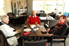 Annette Menzies, Jo Eyles from Hastings, Chris Hough pictured in the cafe during the Christmas party at Summerset in the Vines Retirement Village in Havelock North. Photo / APN