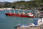 A Lauritzen Bulkers ocean transporter vessel sits in the Port of Lyttelton.  Photo / Dianne Manson.
