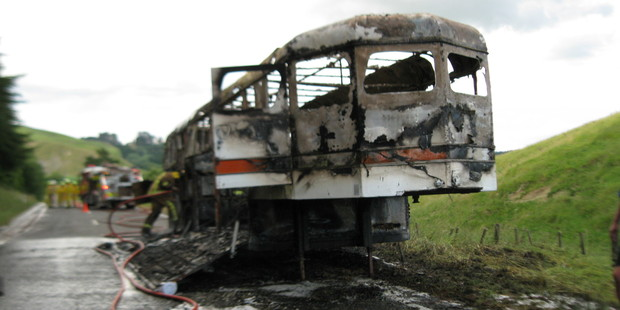 The burnt-out horse float in Porangahau on Sunday night. Photo/Supplied.