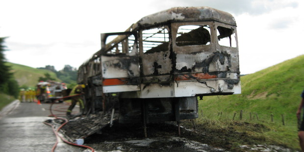 The burnt-out horse float in Porangahau. Photo/Supplied.