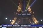 The Eiffel Tower bids a final farewell to Nelson Mandela with the former South African leader's name in lights on the Parisian icon.