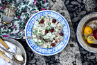 Potato salad with grapes, cucumber and minted natural yoghurt. Photo / Eleanor Ozich