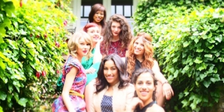 Taylor Swift, left and some of her friends at her birthday party in Melbourne.