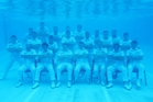 It took three tries to get the shot of the team posing in the Devonport Naval Base swimming pool on the North Shore. Photo / Chris Weissenborn